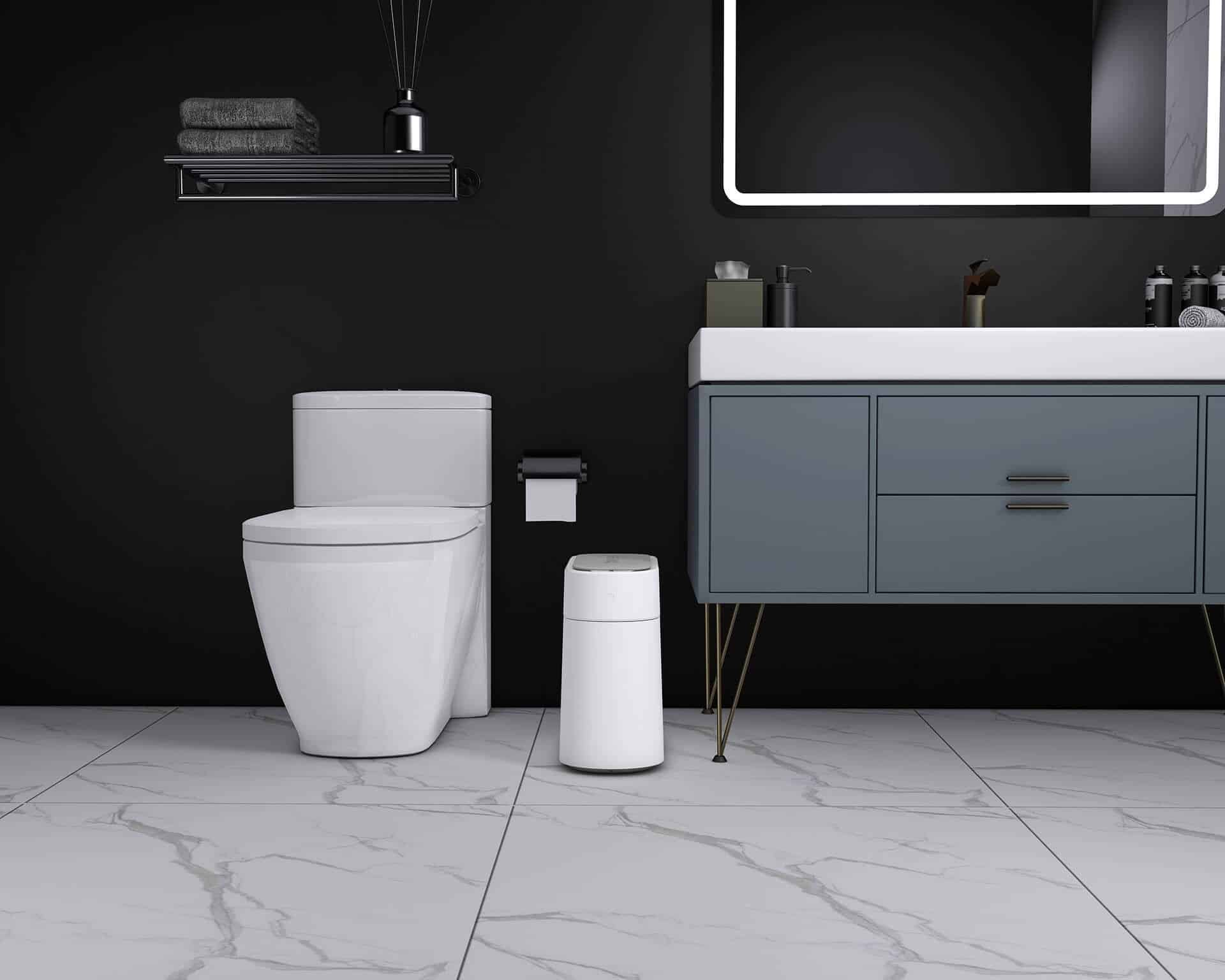 T3 smart trash can in bathroom